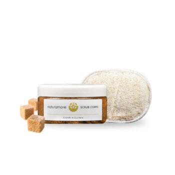 Scrub corpo con Cristalli di Zucchero di Canna 200ml + Spugna in Loofah.